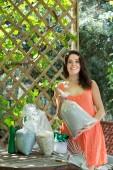 Woman in garden — Stock Photo