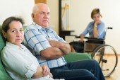 Couple and disabled woman — Stock Photo