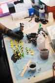 Artist  making tattoo — Stock Photo