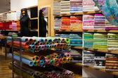 Interior of fabric shop — Stock Photo