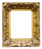 Empty antique golden picture frame — Stock Photo