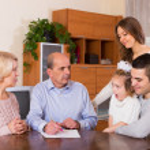 Multigenerational family making shopping list — Stock Photo #64283367