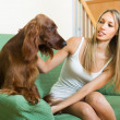Постер, плакат: Adult girl with Irish setter