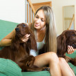 Blonde girl with two dogs — Stock Photo #64284491