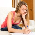 Female student studying notes — Stock Photo #64284819