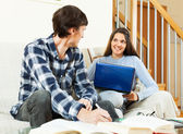 Young couple preparing for exam   — Stock Photo