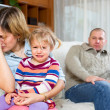 Woman with child against husband — Stock Photo #64304493