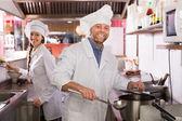 Chef at bistro kitchen — Stock Photo