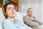 Couple having quarrel at home — Stock Photo
