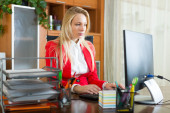 Girl working at office — Stock Photo