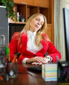 Girl sleeping at office — Stock Photo