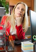 Businesswoman having tedious time — Stock Photo