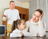 Family of three having conflict — Stock Photo
