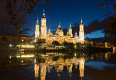 Cathedral and Ebro river in evening. Zaragoza  — Foto de Stock