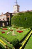 Montjuic Castle with garden in summer. Barcelona  — Stock Photo