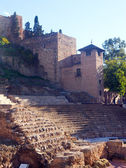 Antique Roman Theater and castle at Malaga — Stock Photo