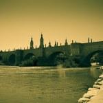Old stone bridge over Ebro river — Stock Photo #66550135