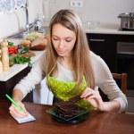Woman weighing chocolate   — Stock Photo #66584791