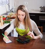 Kobieta o wadze czekolady — Zdjęcie stockowe