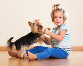 Child holding Yorkshire Terrier — Stock Photo