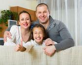 Filha, pai e mãe feliz — Fotografia Stock