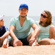Happy smiling parents and son at beach — Stock Photo #66638251