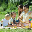 Parents with daughters having picnic — Stock Photo #66647207