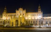 Central building of Plaza de Espana in night — Stock Photo