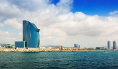View of Barcelona from Mediterranean sea — Stock Photo