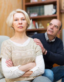 Couple after quarrel indoors — Stock Photo