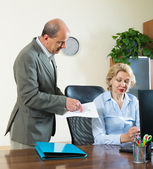 Office manager scolding secretary — Stock Photo