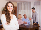Guy and big family with agent — Stock Photo