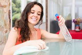 Smiling brunette girl cleaning  furniture — Stock Photo