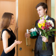 Man giving gifts to beautifull woman — Stock Photo #69398087