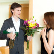 Man giving gifts to cute woman — Stock Photo #69398119