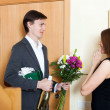 Man giving gifts to cute woman — Stock Photo #69398221