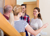 Warm welcome of friends — Stock Photo