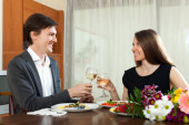 Man and woman having romantic dinner — Stock Photo