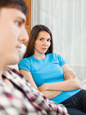 Unhappy woman having conflict with husband — Stock Photo