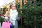Blonde choosing fir for Christmas — Stock Photo