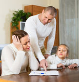 Sad family having financial problems — Stock Photo