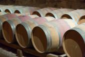 Many wooden barrels — Stock Photo