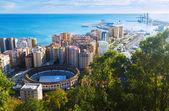 Day view of Malaga with Port and Placa de Torros  — Zdjęcie stockowe