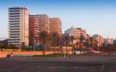 Dwelling houses at  beach side in Malaga — Stock Photo