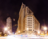 Night view  of Spain Square in Madrid — Stock Photo