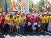 People at rally demanding independence for Catalonia — Stock Photo