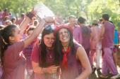 Happy women during Batalla del vino — Stock Photo