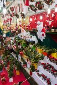 Decorations and gifts  in Christmas market — Stock Photo