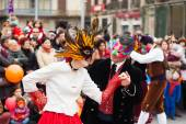 Dancing people at Carnival Balls — Stock Photo