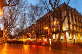 La Rambla street in evening — Stock Photo